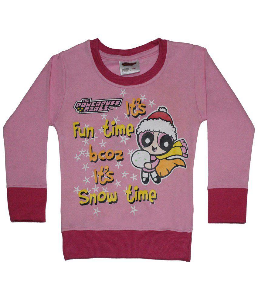 Power Puff Girls Pink & Yellow Full Sleeve Sweatshirt