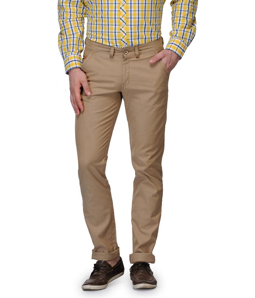 Canary London Khaki Regular Fit Casual Chinos