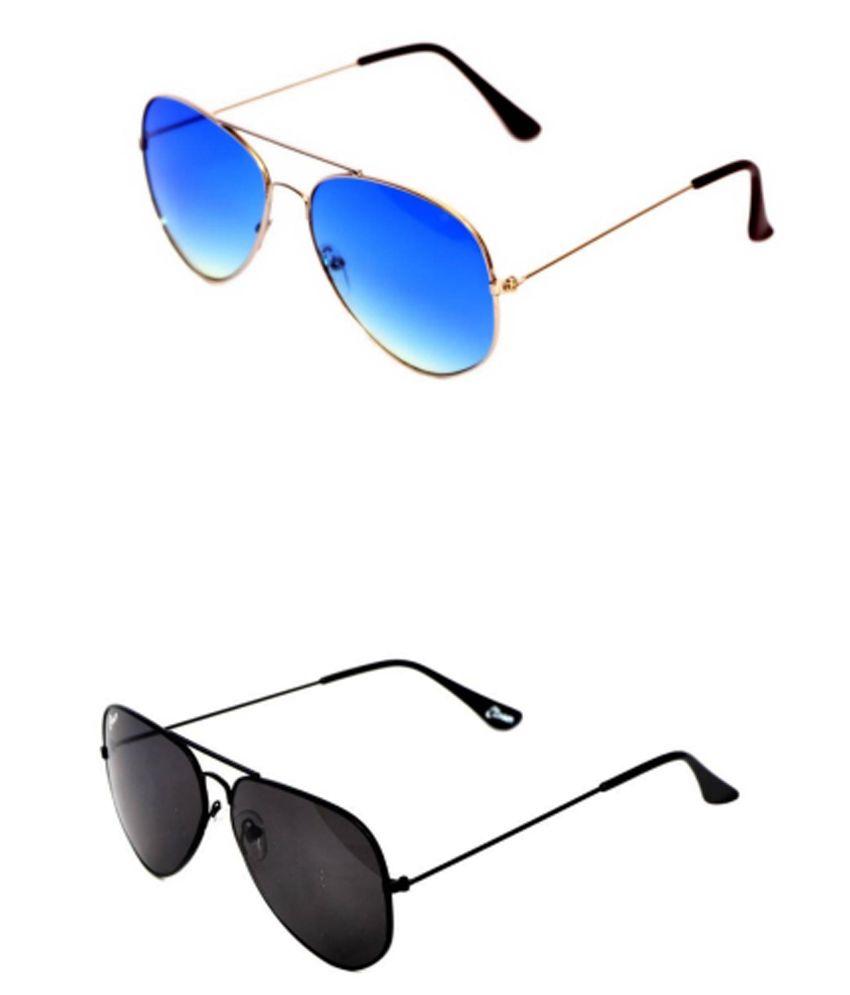 Closer Blue Medium Men Aviator Sunglasses - Pack Of 2