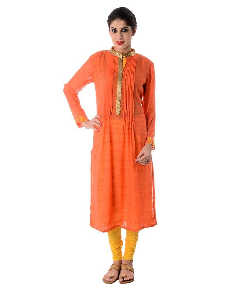 Jaipur Saree Kendra Orange Pure Georgette Kurti