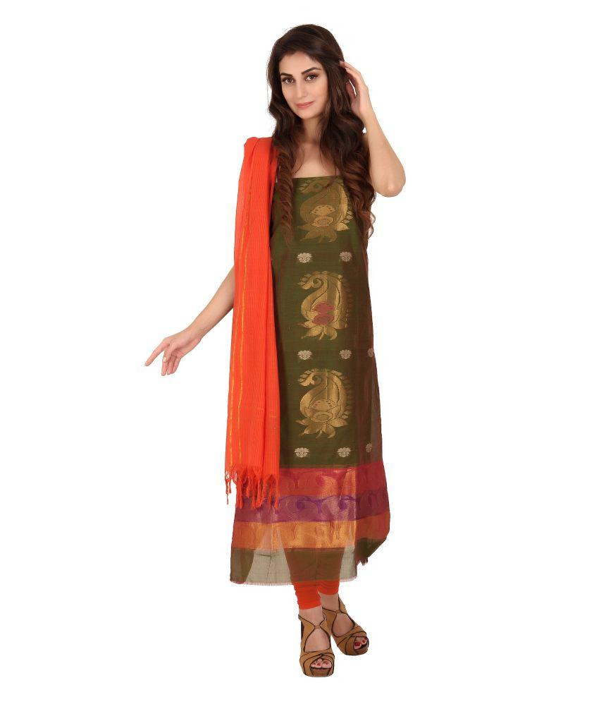 Platinaa Traditional Silk Cotton Dress Material Platinaa Green Cotton Silk Unstitched