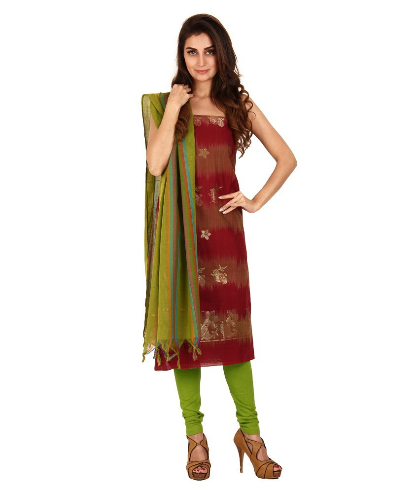 Pratamika Traditional Jacquard Dress Material Pratamika Maroon & Green Cotton Silk Unstitched