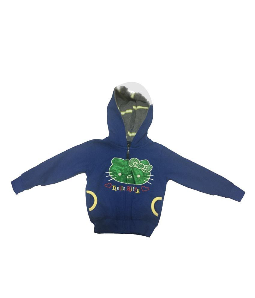 Addis Blue Cotton Hooded Jacket For Girls - Pack Of 2