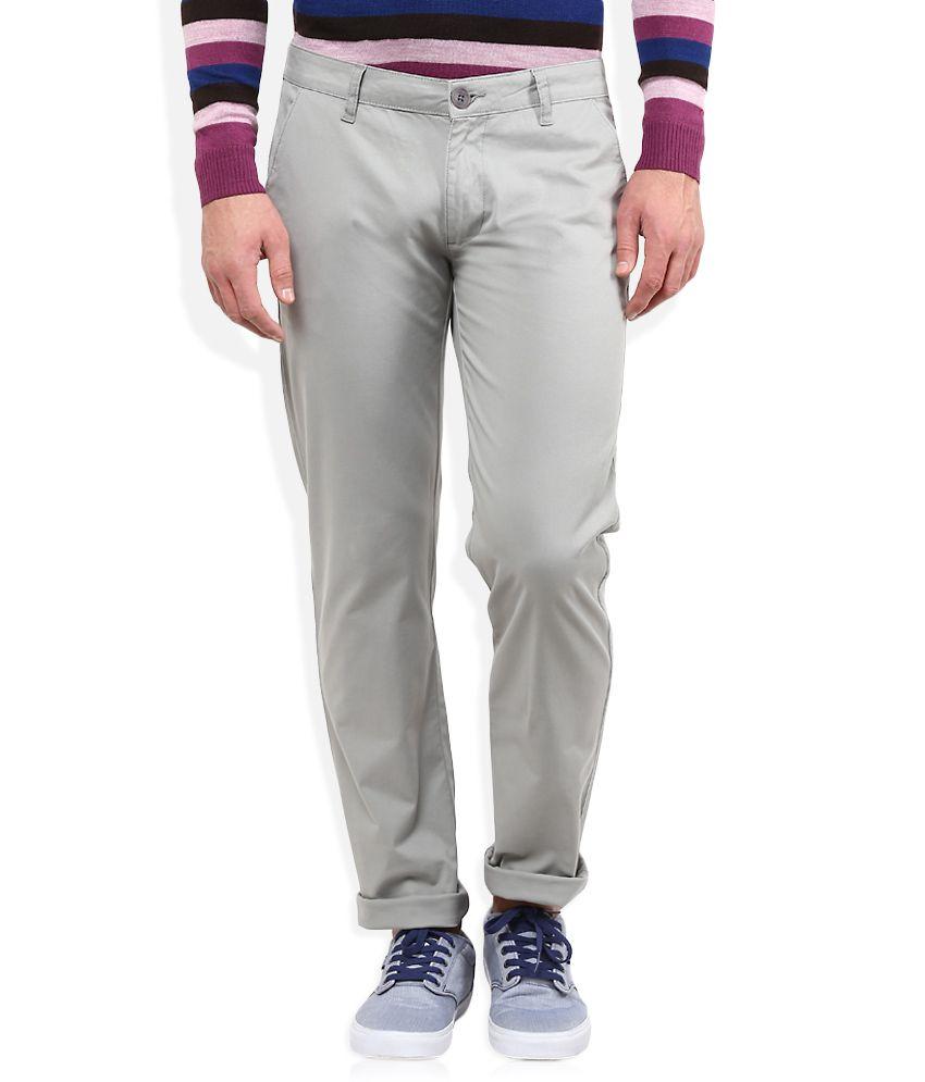American Swan Grey Slim Fit Casuals Chinos