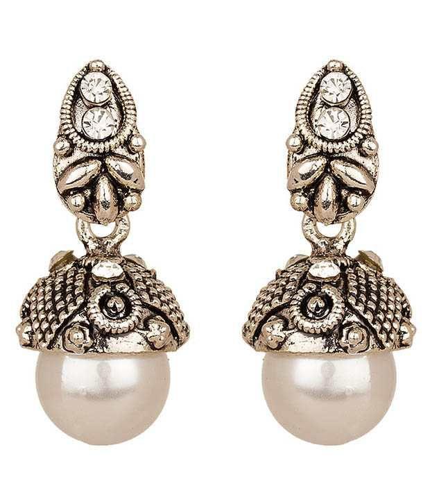 Hemta Silver Alloy Go Getter Oxidized Drop Earrings