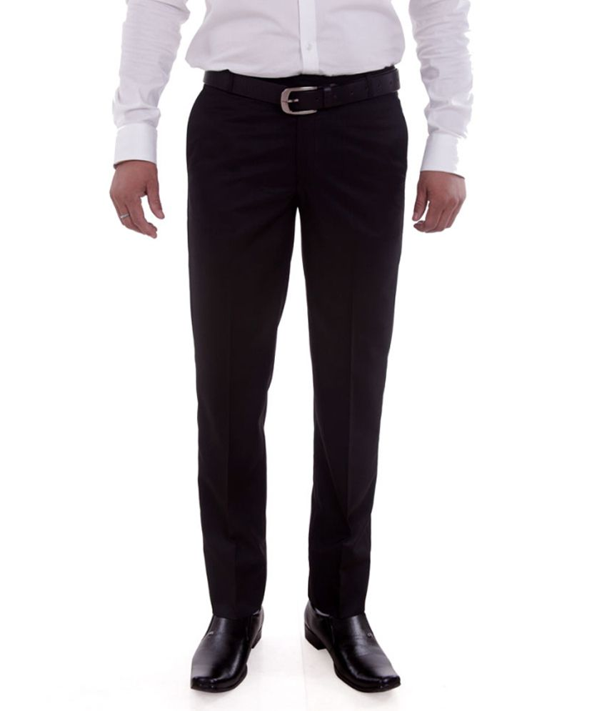 Numerics Black Regular Fit Formal Flat Trouser