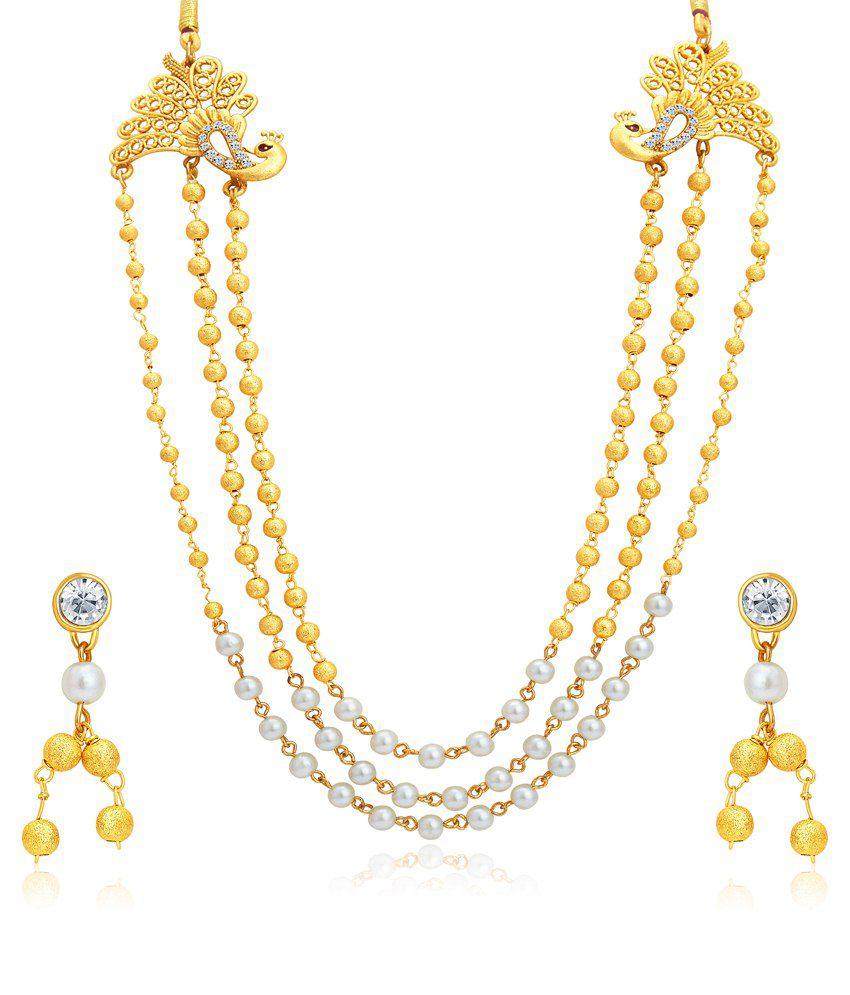 Sukkhi Golden Alloy Bridal Necklace Set