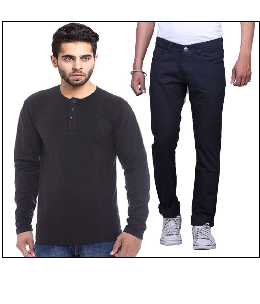 X-cross Combo Of Navy Blue Slim Fit Jeans With T Shirt
