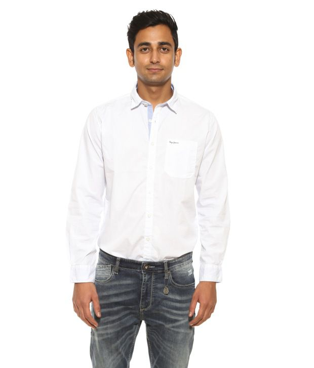 Pepe Jeans White Casual Shirt