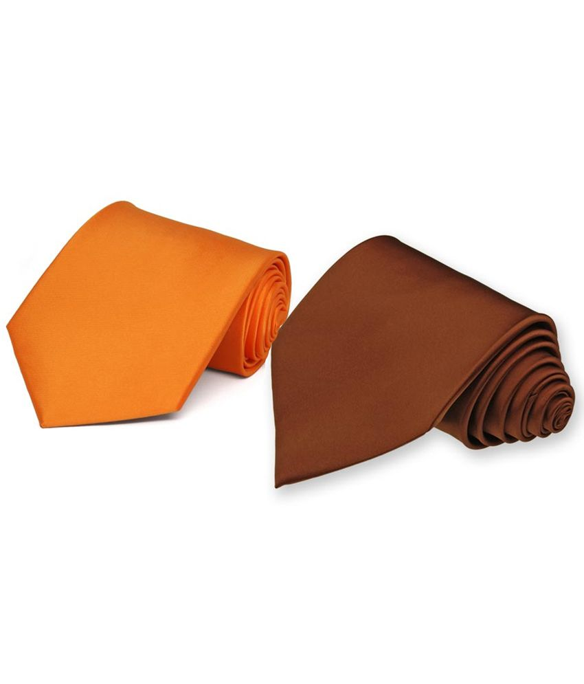Picador Orange & Brown Satin Men's Tie - Combo of 2