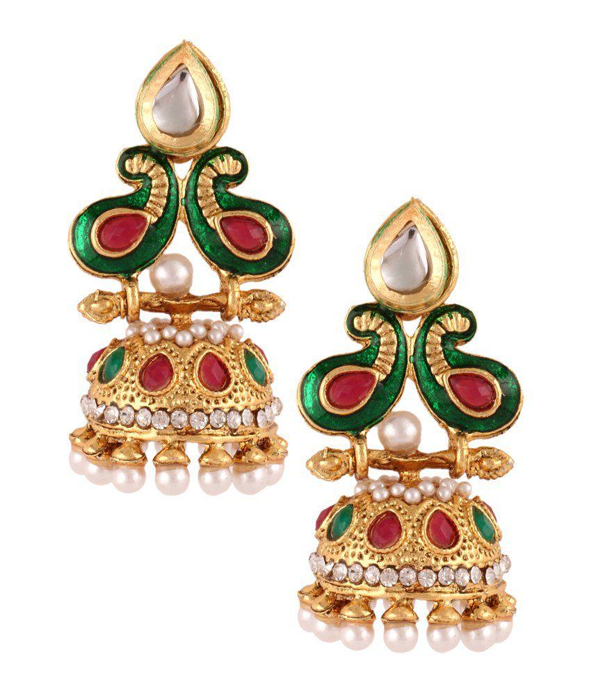 The Jewelbox Multicolour Pearl Designer Jhumki Earrings
