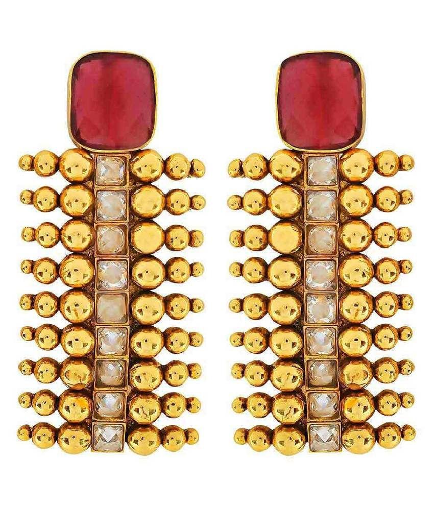 The Jewelbox Red Polki Designer Stud Earrings