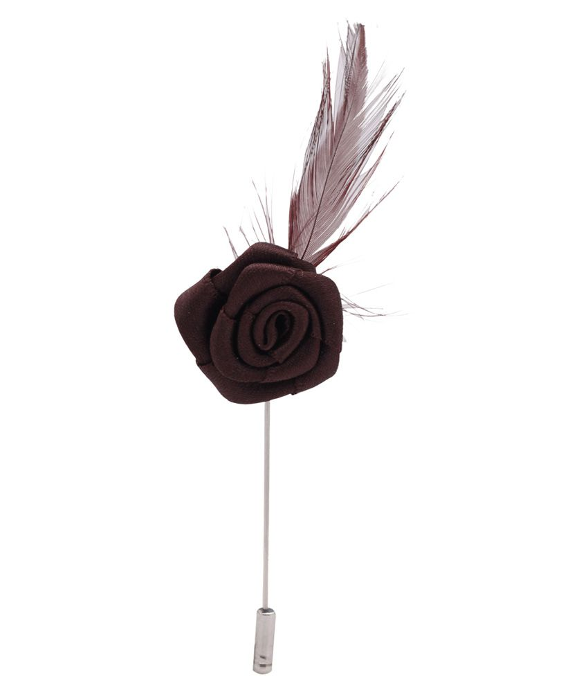Wi Retail Brown Rose with Feather Lapel Pin Brooch