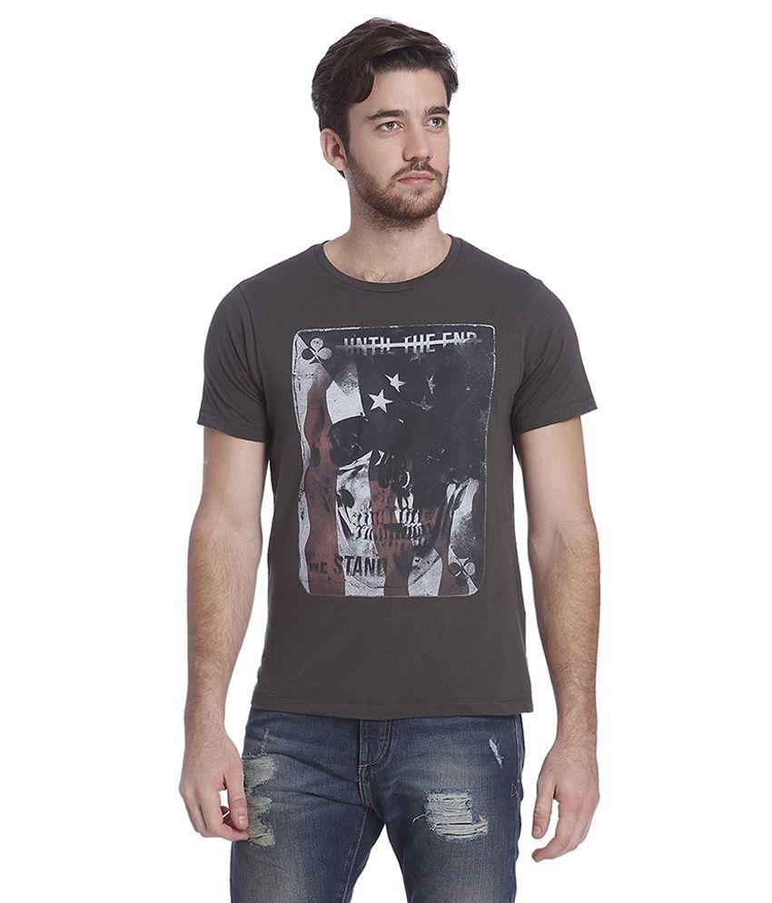 Jack & Jones Brown Half Sleeves T-Shirt