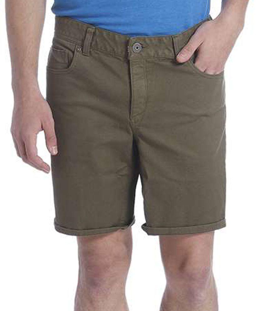 Jack & Jones Green Solid Shorts