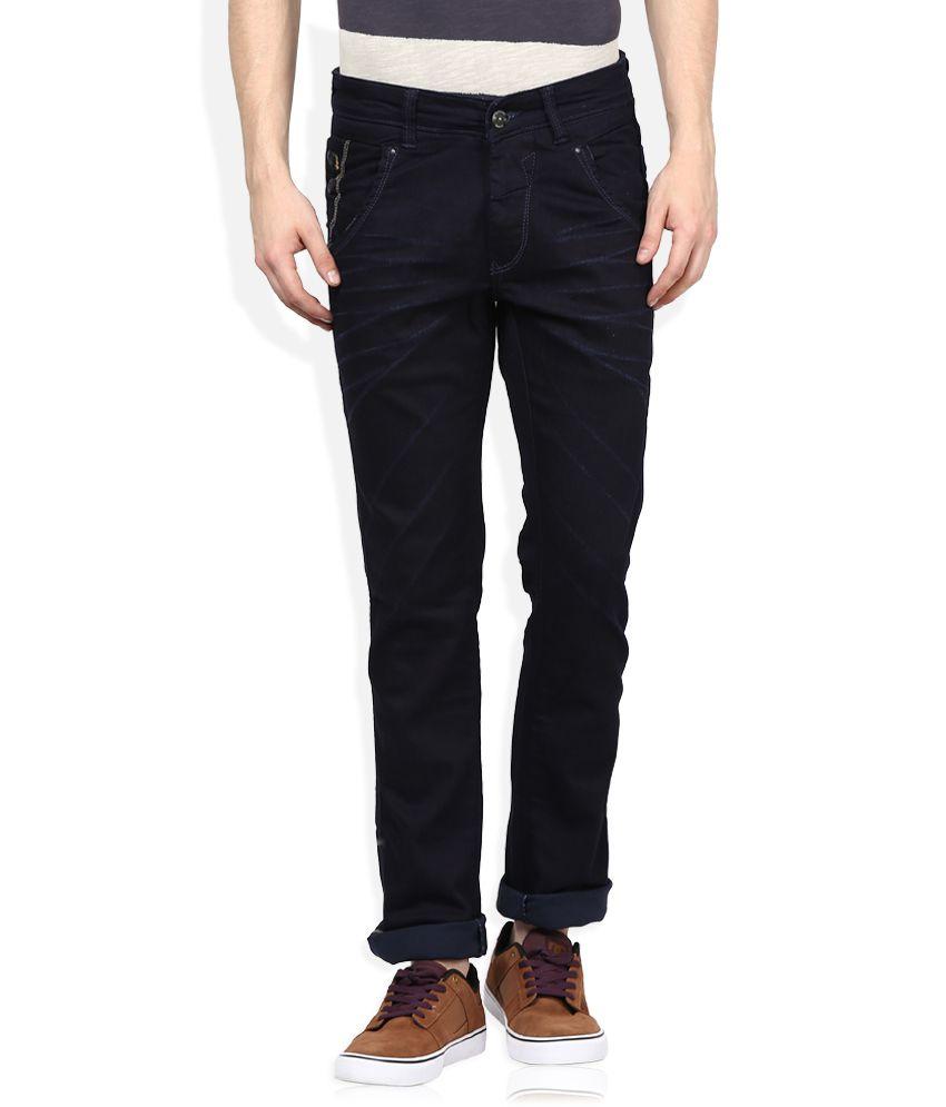 Spykar Navy Raw Denim Slim Fit Jeans