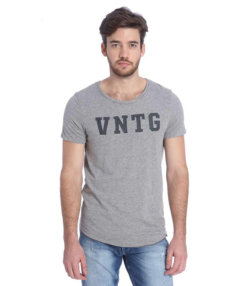 Jack & Jones Grey Half Sleeves T-Shirt