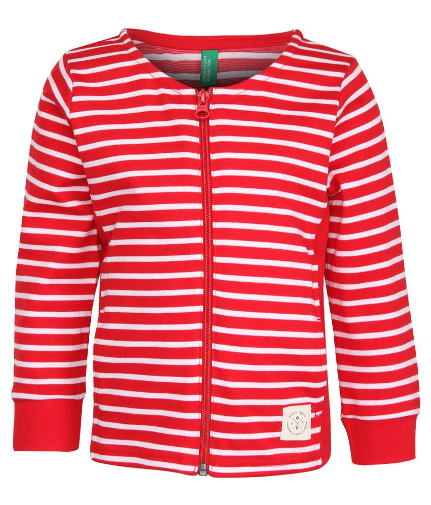 United Colors of Benetton Red Striped Zippered Sweatshirt