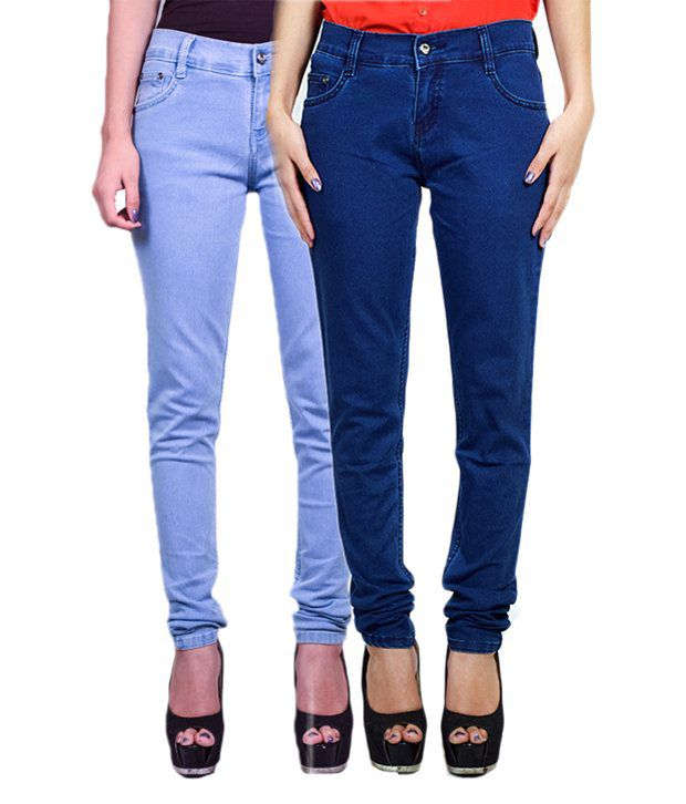 Fuego Light & Dark Blue Slim fit Jeans - Pack of 2