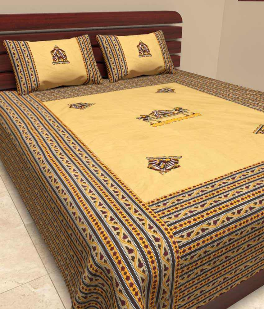 UniqChoice Jaipuri Traditional Pure Cotton Embroidered Patch Work Double Bed Sheet With 2 Pillow Cover