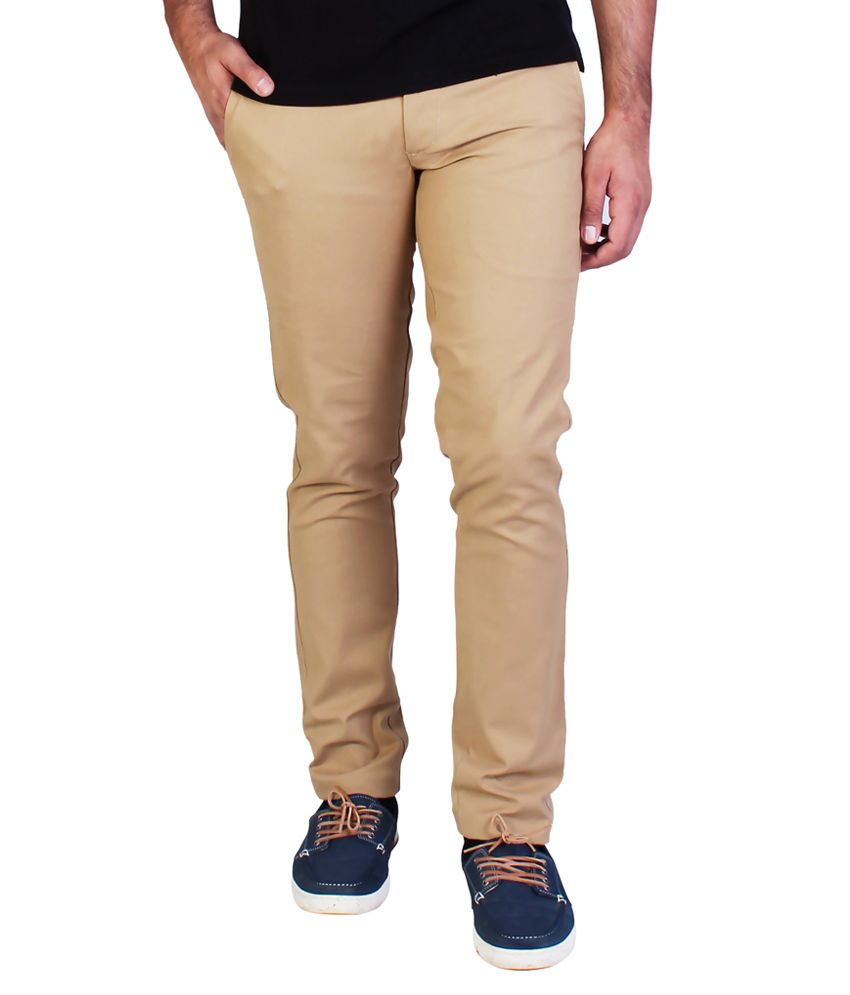 Bridge Beige Slim Fit Casual Chinos