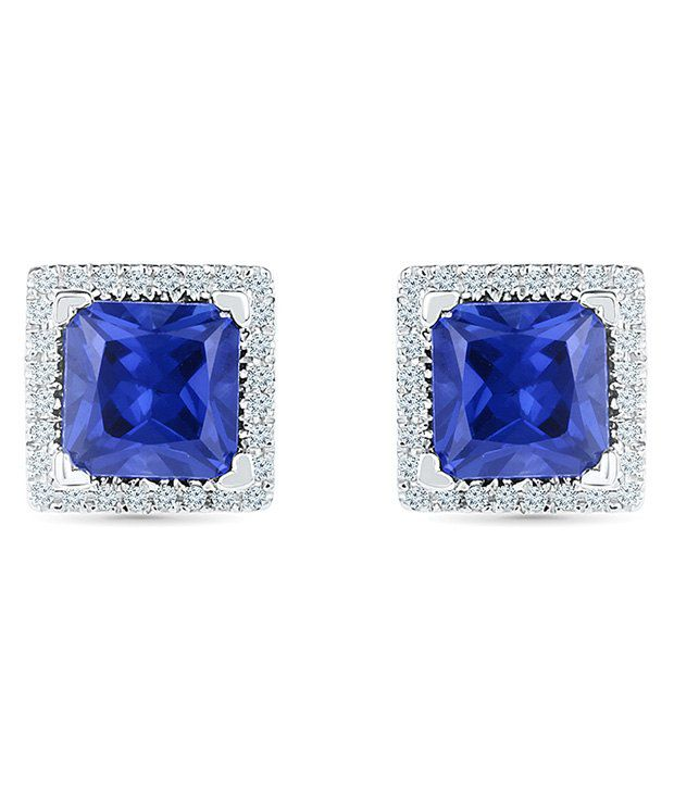 Radiant Bay 18kt White Gold EGL Certified Blue Sapphire Studs