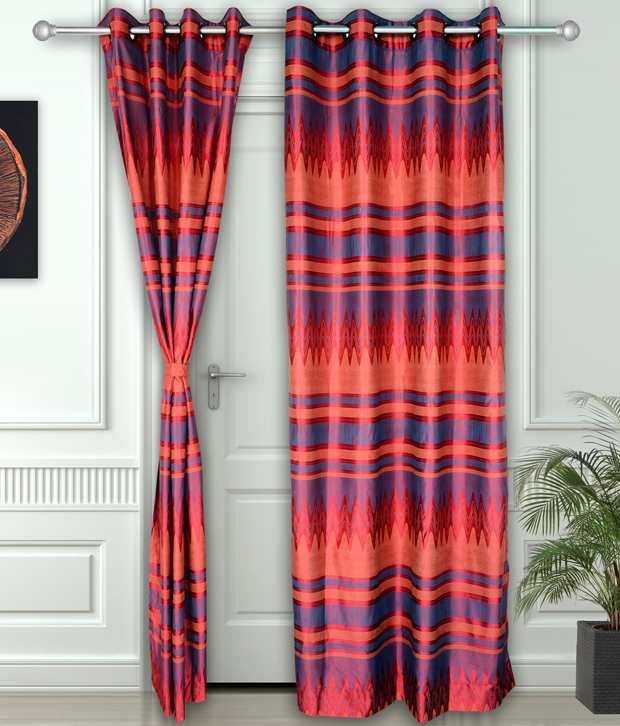 Story@Home Set of 2 Door Eyelet Curtains Abstract Red
