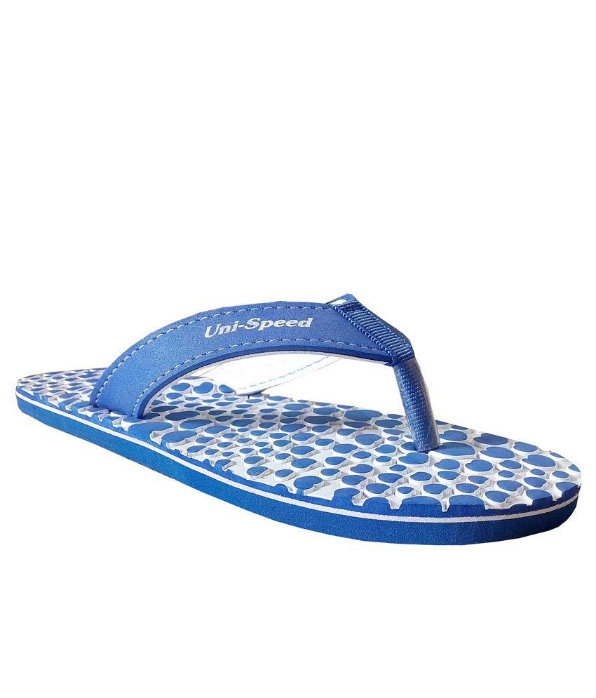 Unispeed Hearts & Accupressure Blue Slippers
