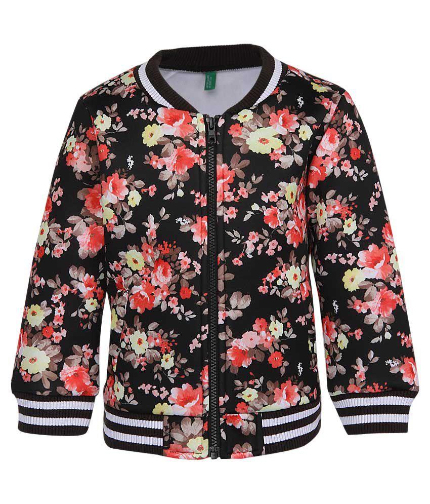 United Colors of Benetton Black Floral Zippered Sweatshirt