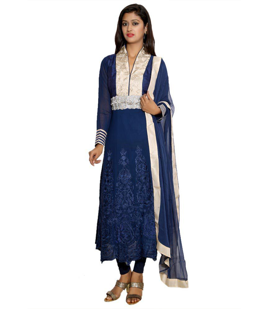 Style Junction Blue Georgette Semi Stitched Dress Material