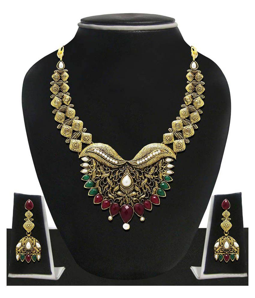 Zaveri Pearls Multicolour Alloy Designer Necklace Set