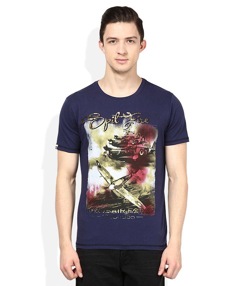 Spykar Navy Round Neck Half Sleeves Printed T-Shirt