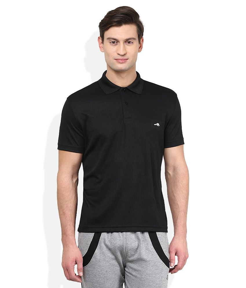 2go Black Solid Polo T Shirt