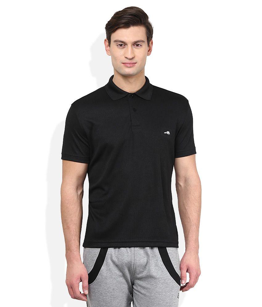 2go Black Solid Polo T Shirt