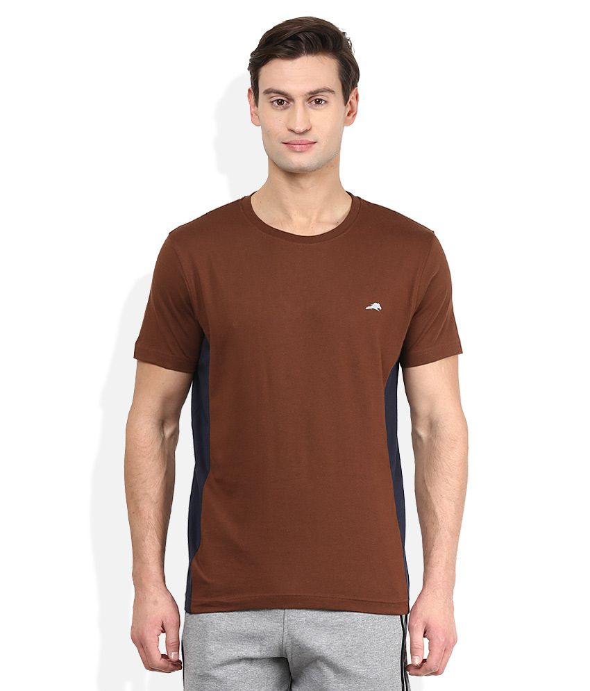 2go Brown Solid T-Shirt
