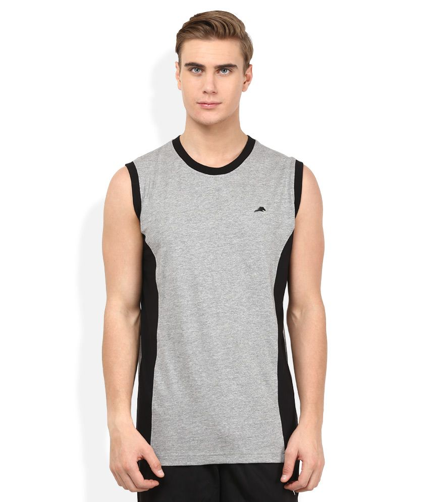 2go Grey Solid T-Shirt