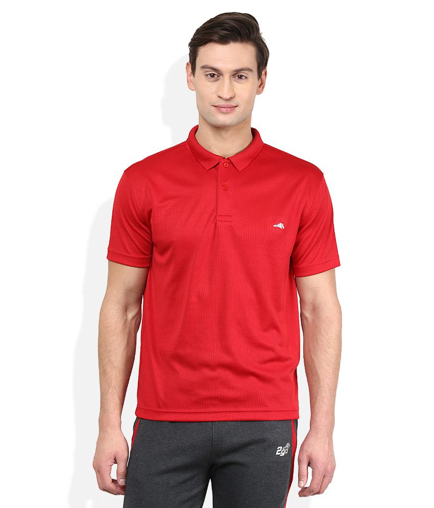 2go Red Solid Polo T Shirt