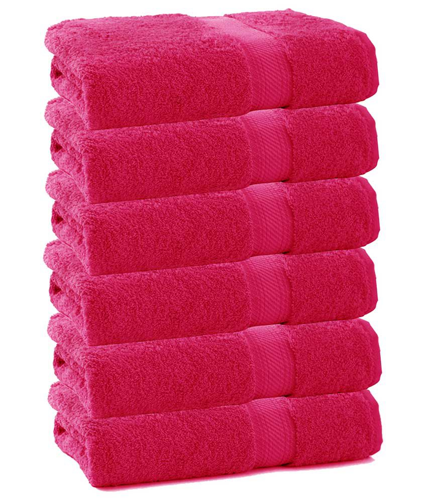 Juvenile Pink Cotton Bath Towel - Pack Of 6