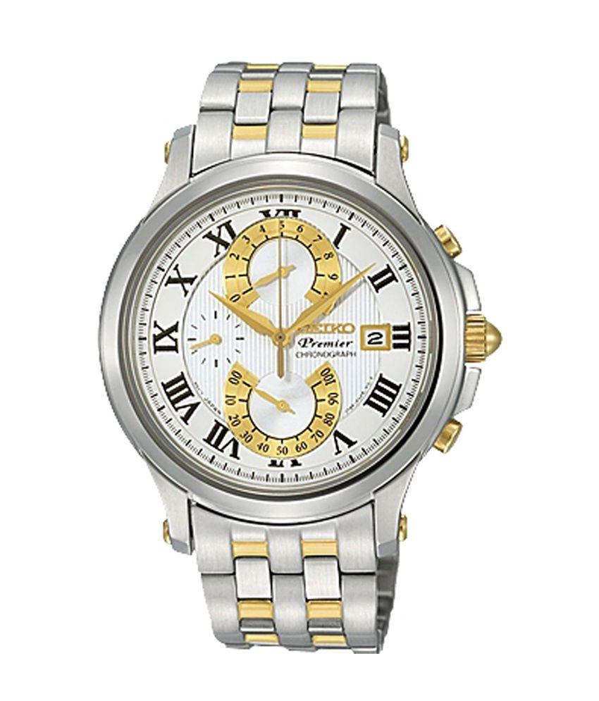 Seiko SPC068P1 Premier White Dial Analog-Chronograph Watch ...