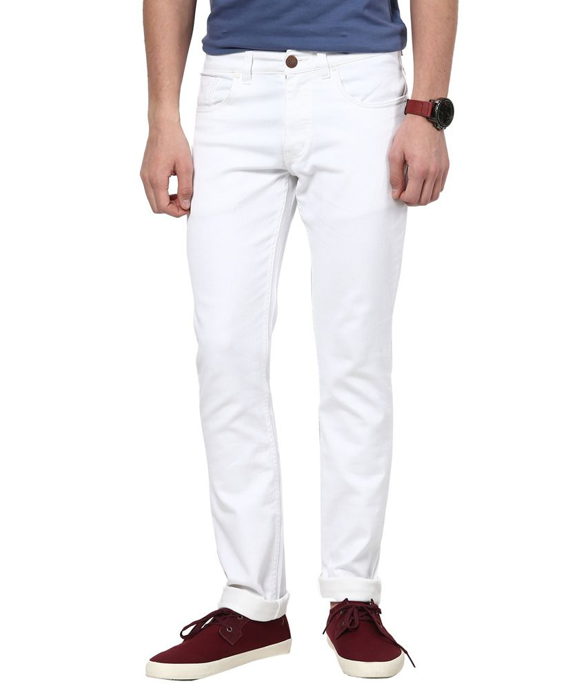 Super-x White Cotton Basics Skinny Fit Jeans