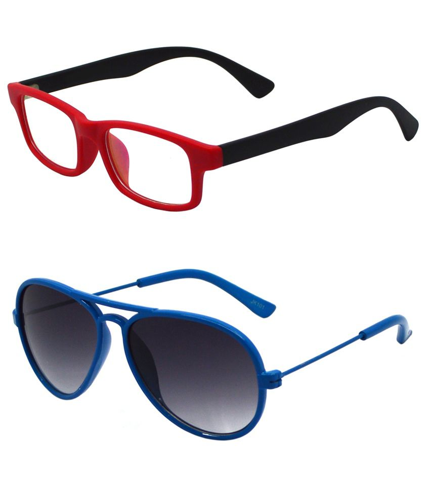 b076360137fe Buy Goggy Poggy Blue Kids Aviator Sunglasses & Spectacles Frame - Pack of 2  at Best Prices in India - Snapdeal