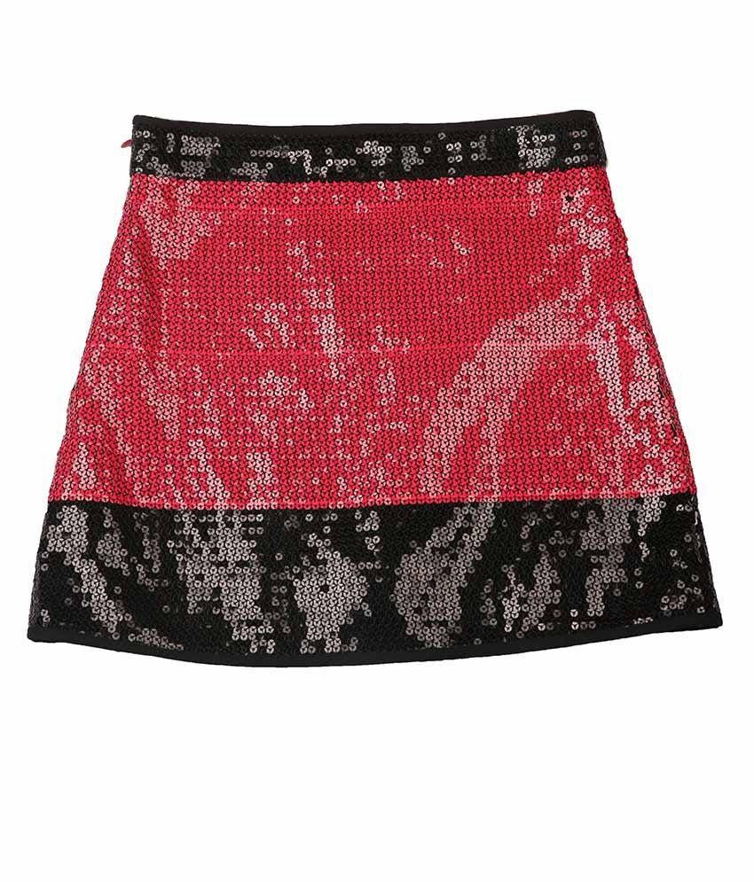 My Lil' Berry Red And Black Sequined Skirt