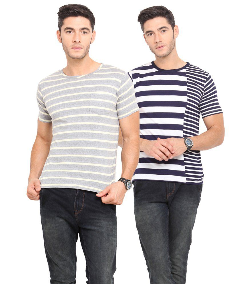Northern Lights Multicolour Cotton Blend T-Shirts - Set Of 2