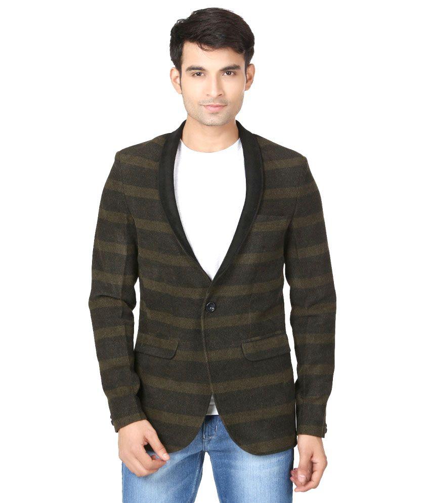 Essentiele Grey Woollen Partywear Blazer