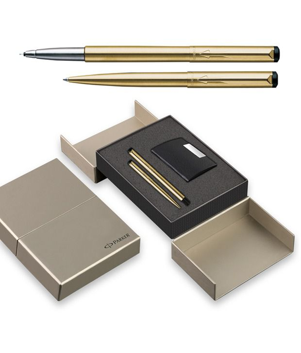 Parker Vector Gold Trim (Roller Ball + Ball Pen)-Sets with Card Holder