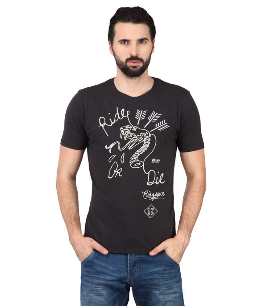 Ringspun Black & White Cotton Blend T-shirt