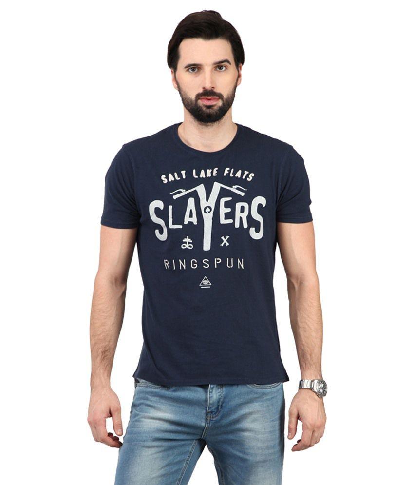 Ringspun Navy Blue & White Cotton Blend T-shirt