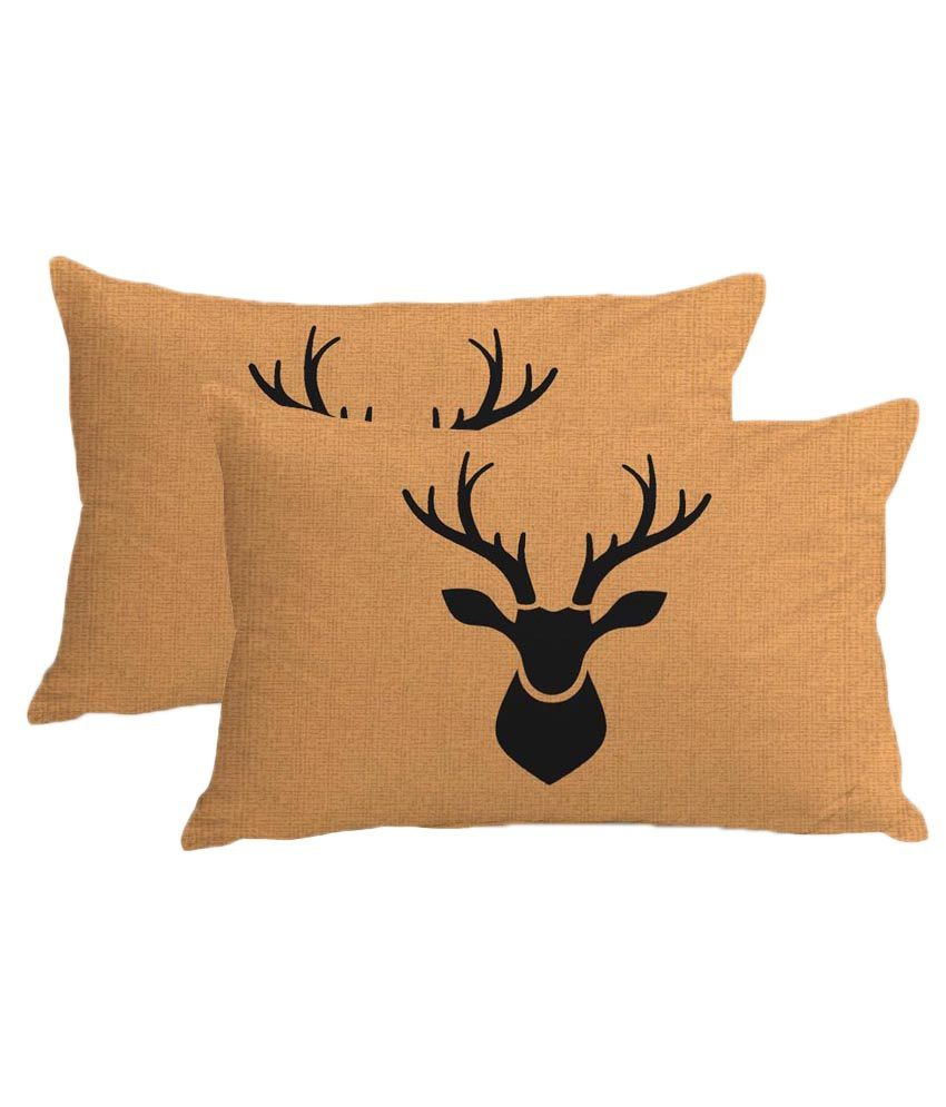 Stybuzz Beige Printed Christmas Pillow Covers (set Of 2)