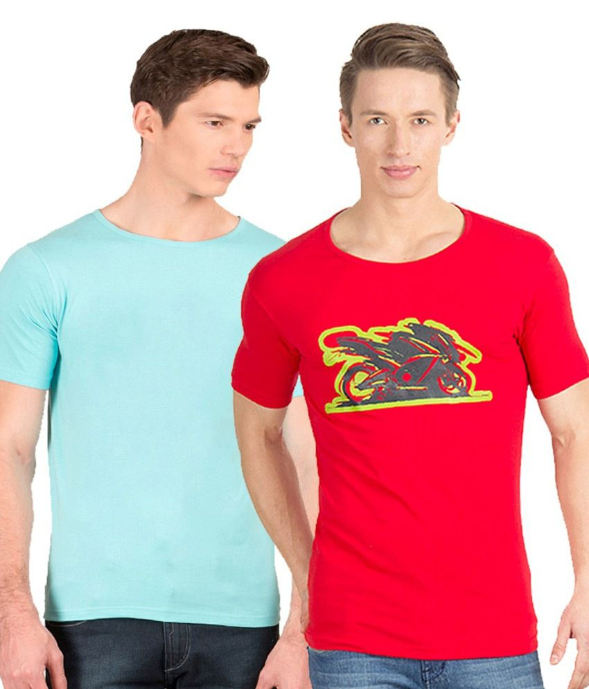 Incynk Red and Blue Cotton T-Shirt - Pack of 2