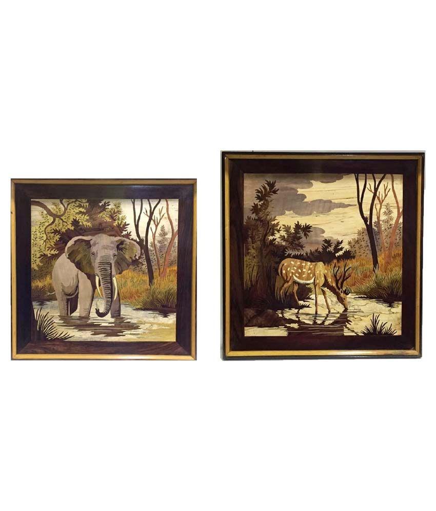 Craftcurve Deer Drinking Water & Elephant King Framed Art Print Set Of 2